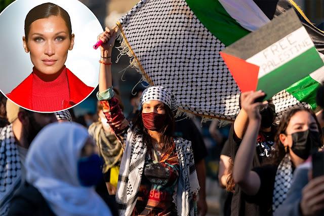 Turun ke Jalan New York, Bella Hadid Kibarkan Bendera Palestina