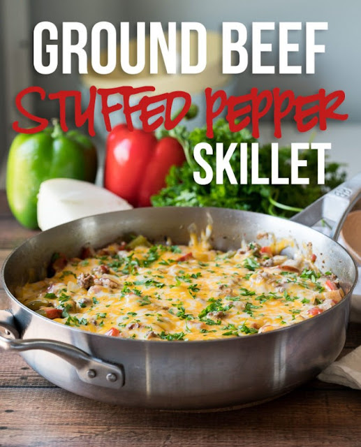 ★★★★★ | GROUND BEEF STUFFED PEPPER SKILLET