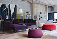 Purple velvet sectional sofa for L-shaped living room furniture idea