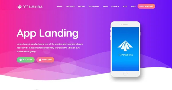 Giao diện blogspot landing Premium App Business v2.0