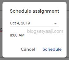 Mengatur jadwal pemberian tugas di google classroom