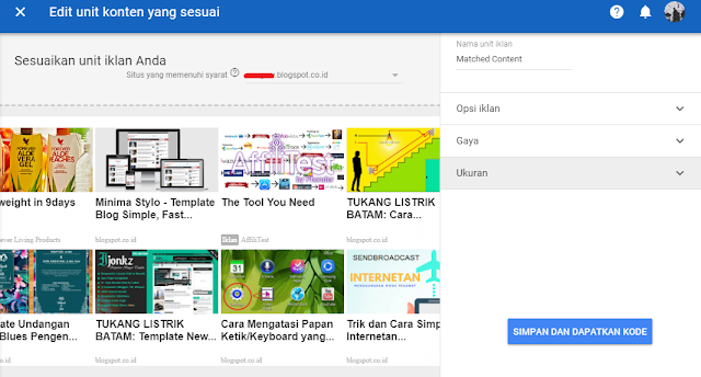 Memasang Matched Content AdSense di Blog