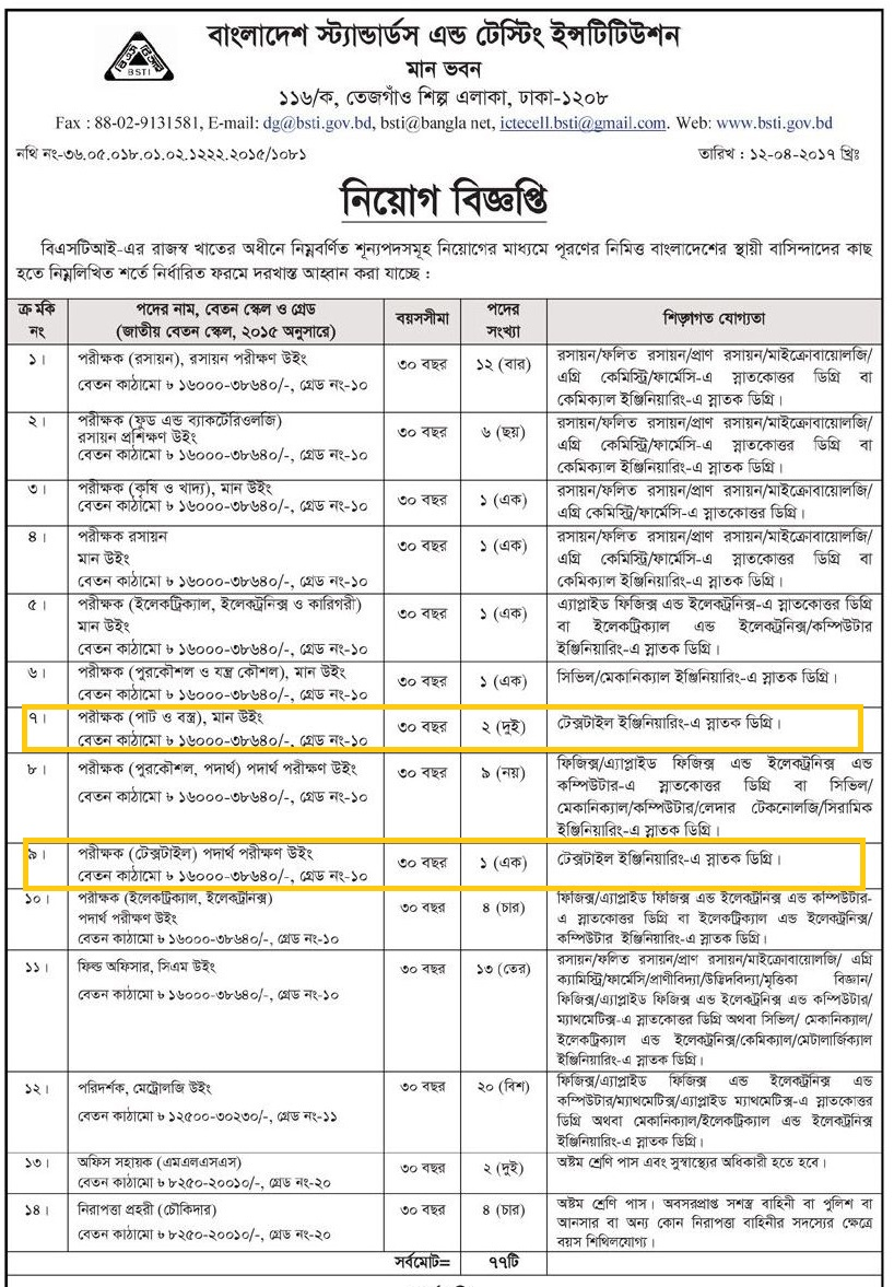 BSTI%2BJob%2Bcircular Job Application Form Example Answers on institutions for, letter summer, bad filled out,
