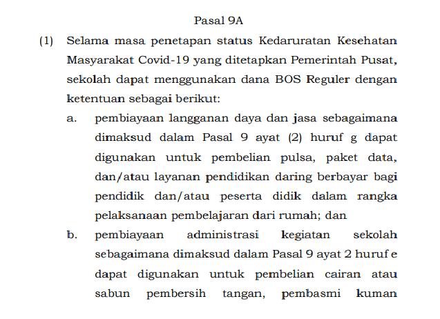Petunjuk Teknis Penggunaan Dana BOS selama Covid-19