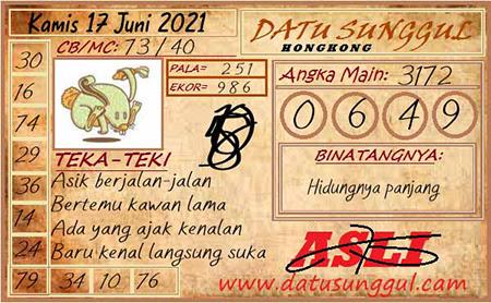 Prediksi Datu Sunggul HK Kamis 17 Juni 2021