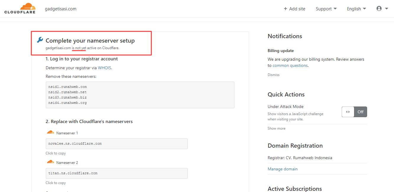 cloudflare belum aktif