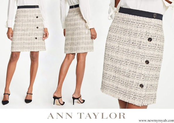 Princess Madeleine wore Ann Taylor tweed button a-line skirt