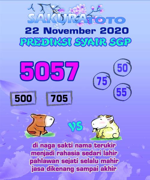 Syair Sakuratoto SGP Minggu 22 November 2020