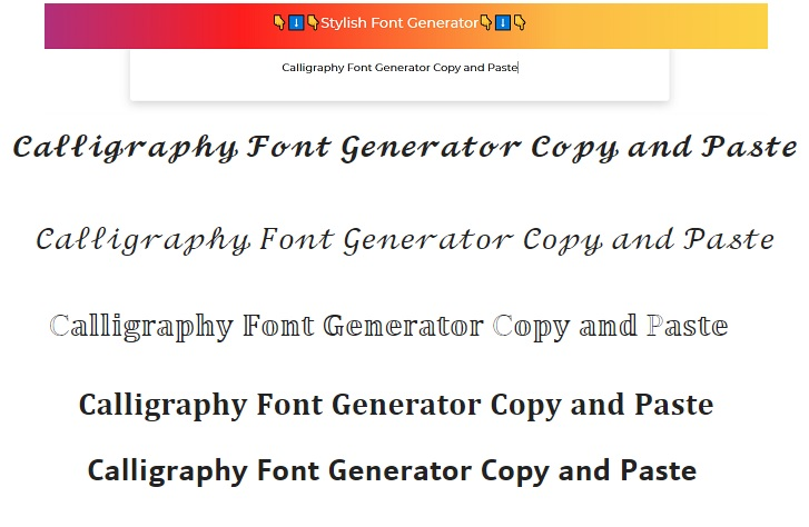 Calligraphy Font Generator Copy and Paste