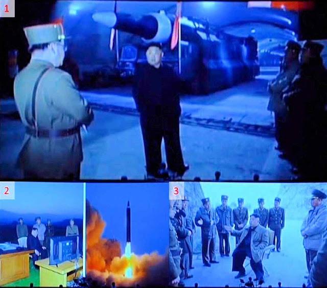 Imagens do lançamento falido de 28 de abril supervisionada por Kim Jong-un