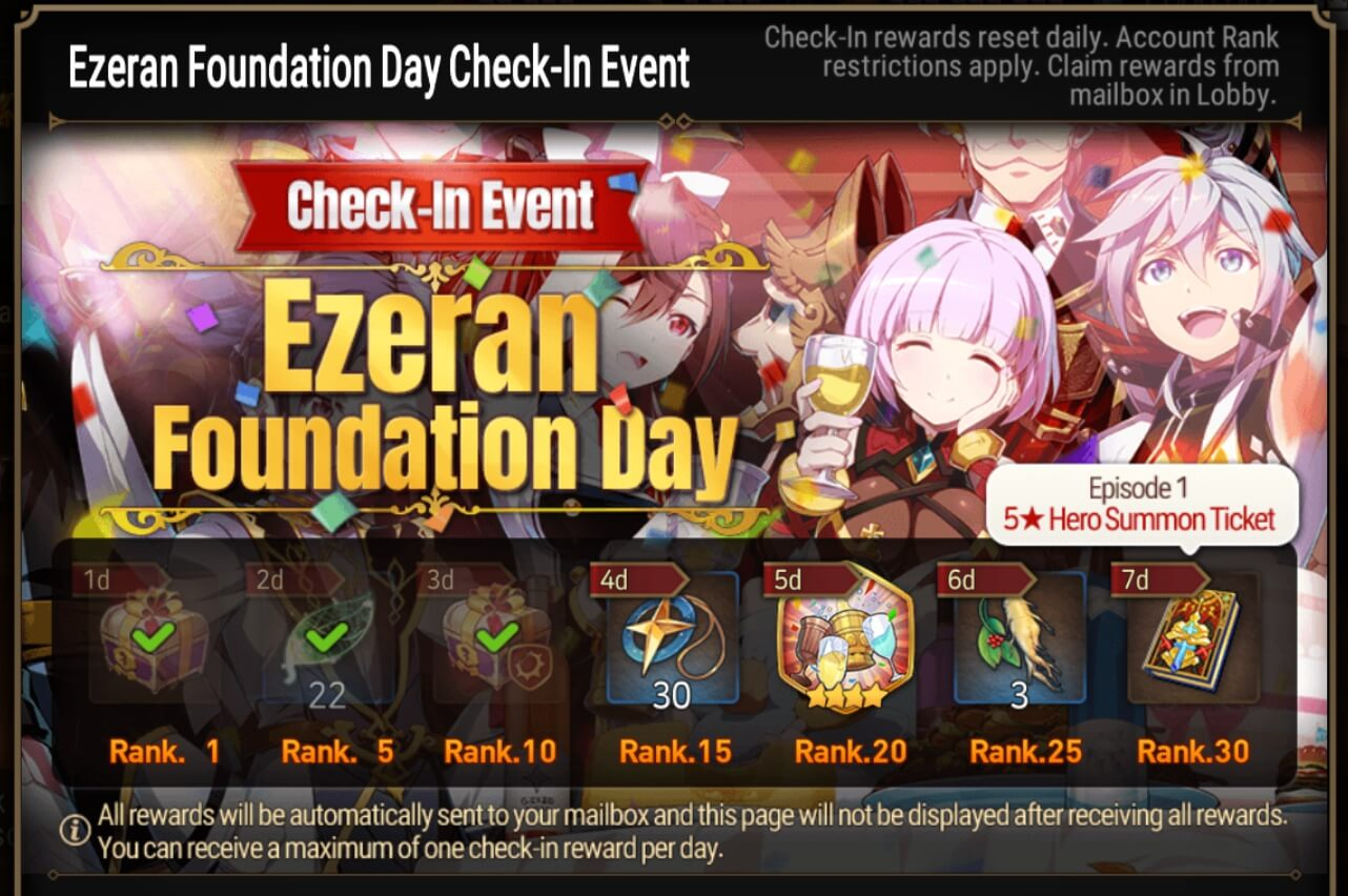 Epic Seven daily check event