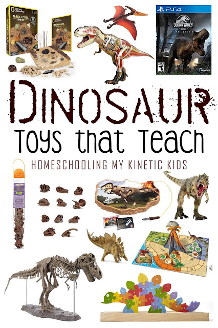 Dinosaur Toys that Teach // Homeschooling My Kinetic Kids // Dinosaur toys don't have to just roar, they can also be great for teaching kids about prehistoric times.  From DNA to animal anatomy to the formation of fossils, dinosaur toys have a lot to teach us.