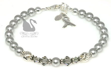 Gray Pearl Crystal Asthma Awareness Bracelet (B082)