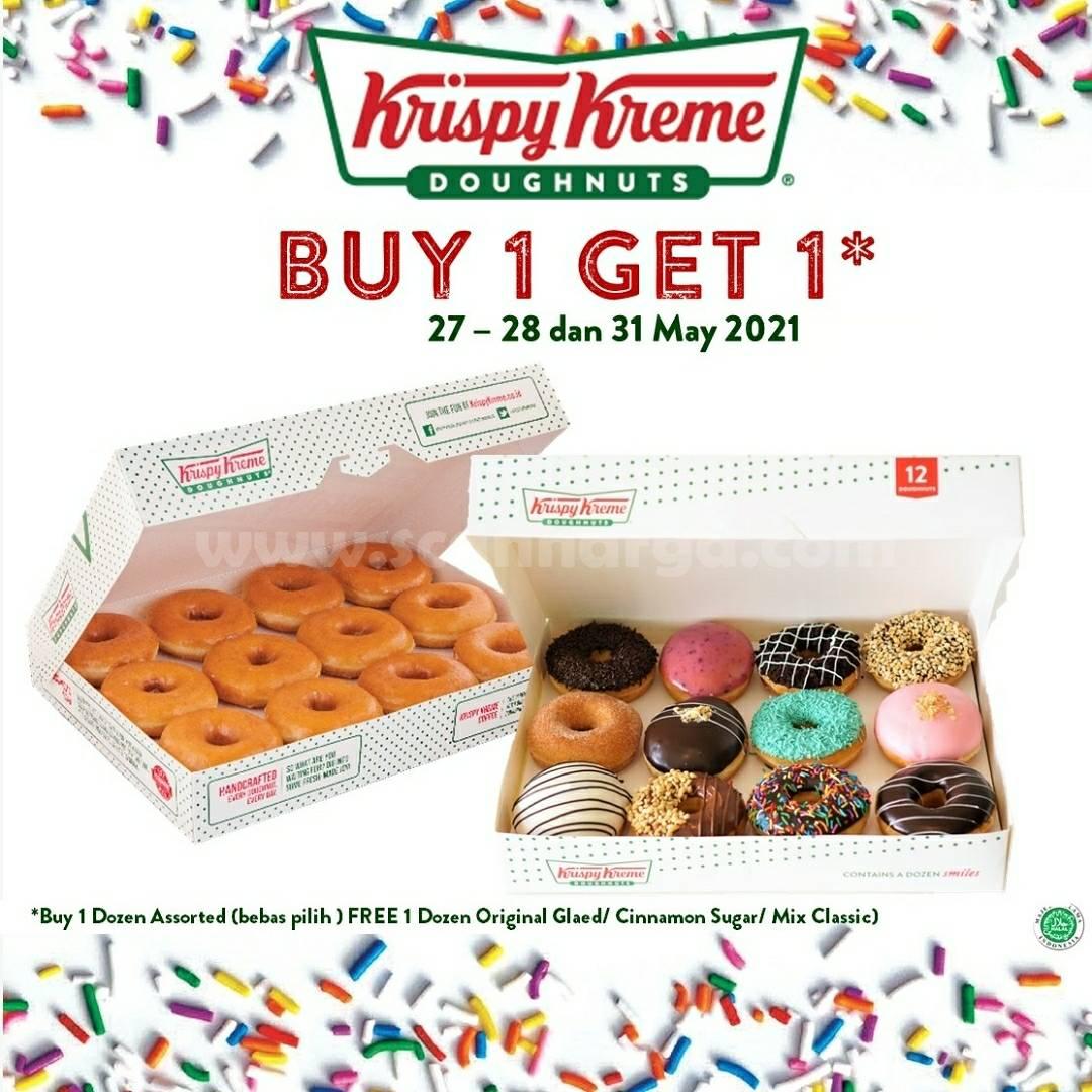 Promo Krispy Kreme Beli 1 Gratis 1 Periode 27-28 & 31 Mei 2021