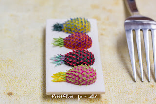Psychedelic Pineapples, Miniature Art Sculpture by Stephanie Kilgast