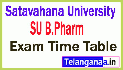 Satavahana University B Pharm Exam Time Table