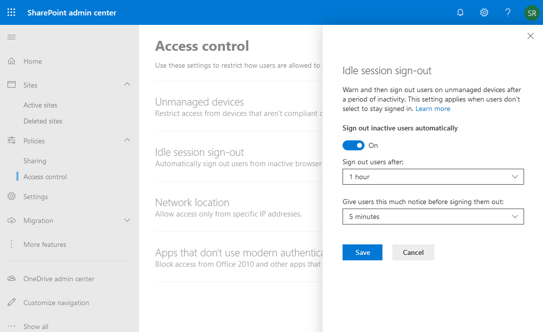 idle session sign out in sharepoint online