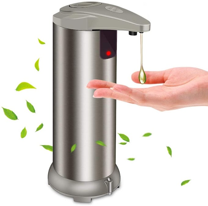 Automatic Soap Dispenser - Touchless Soap Dispenser with Waterproof Base, Infrared Motion Sensor Stainless Steel Dish Liquid Free Auto Hand Soap Dispenser for Bathroom or Kitchen, 2021-New Version