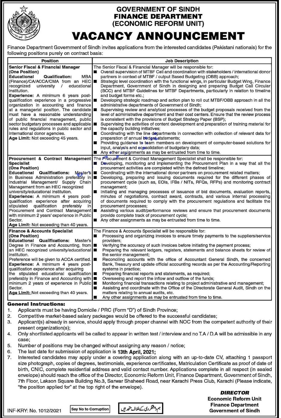 Latest Jobs in Finance Department 2021