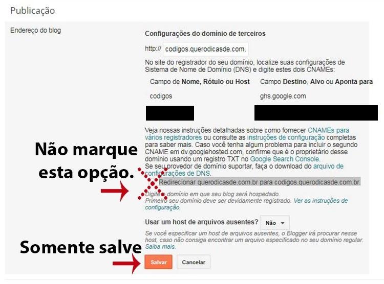 Um subdomínio criado no registro br e apontando no Blog