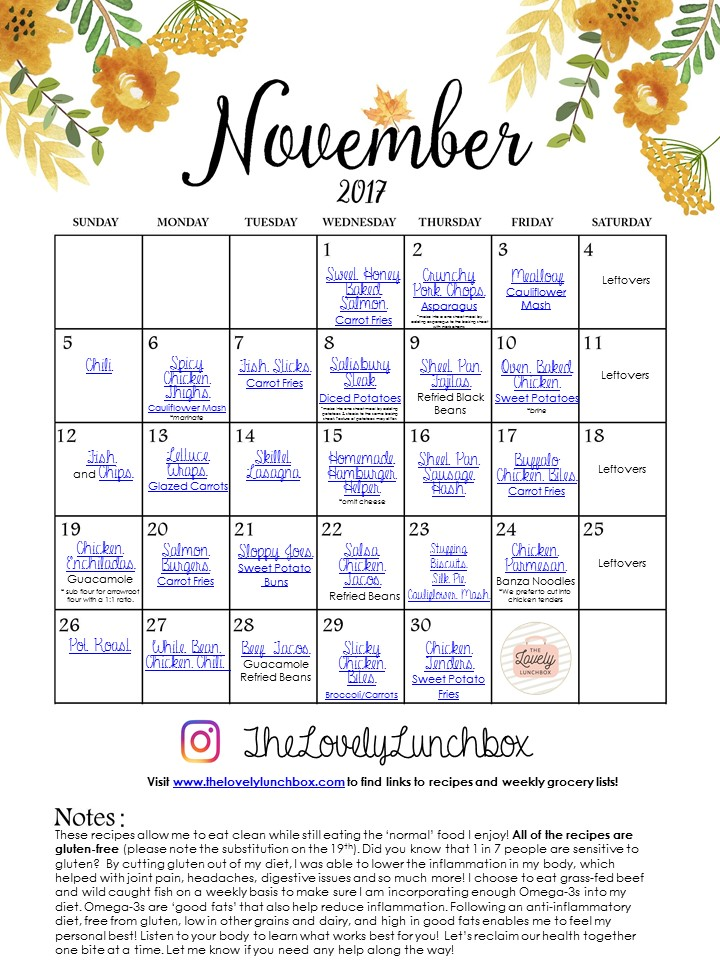 November Meal Calendar  The Lovely Lunchbox