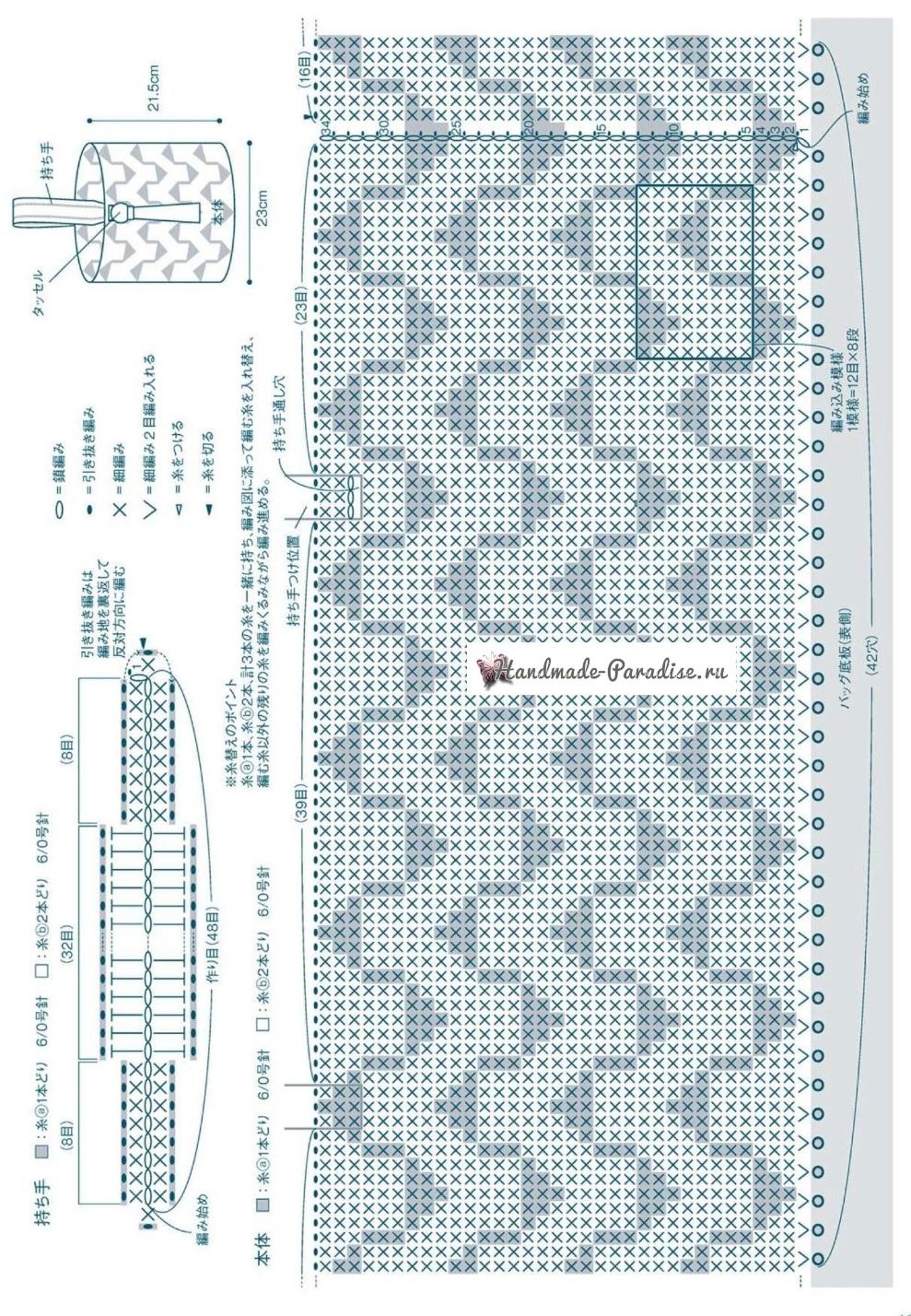 Сумка-мешок крючком жаккардовым узором (2)