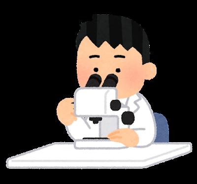 実体顕微鏡を使う人のイラスト(男性)