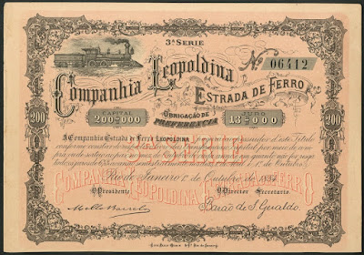 Leopoldina Estrada de Ferro bond from 1884
