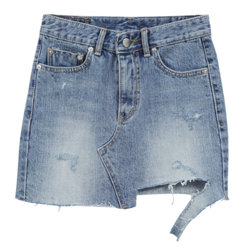 Asymmetrical Raw Hem Washed Denim Skirt