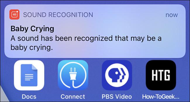 إشعار تنبيه للتعرف على الصوت على iPhone لبكاء طفل.
