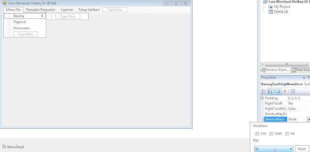 Cara Membuat Desain Hotkey Di VB Net, Cara Membuat Shortcut Di Menu Utama VB Net, Koding Membuat Hotkey Di VB Net