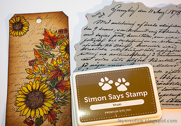 Layers of ink - Leaves on Kraft Tutorial by Anna-Karin Evaldsson. Stamp with Simon Says Stamp Old Letter.
