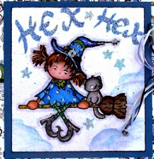 """Broom Ride"" koloriert in Blautönen"