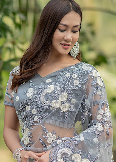 Grey Embroidered Net Heavy Border Saree indian party wear front design