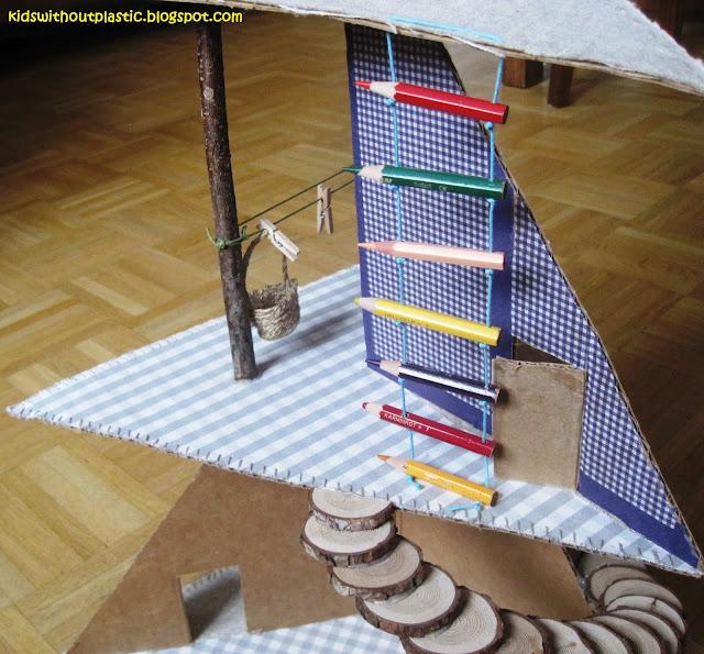 kartonowo-drewniany domek dla lalek diy