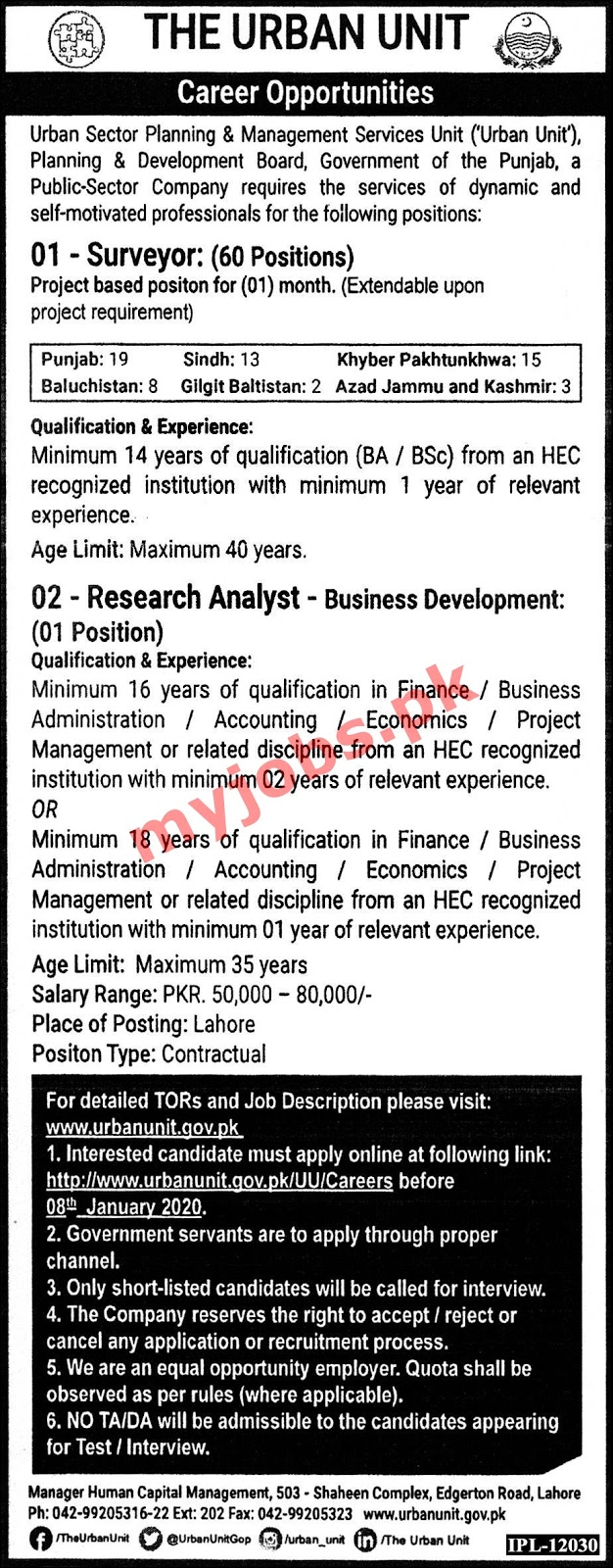Latest Jobs in Urban Sector Planning & Management Services Lahore 2020 I Apply Now