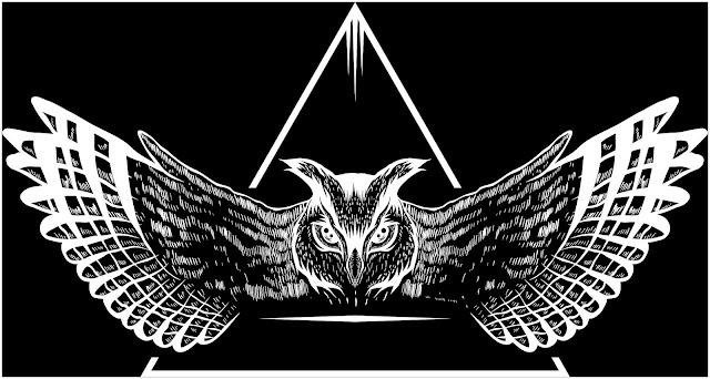 Ilustração de uma coruja com as asas abertas, alçando voo.