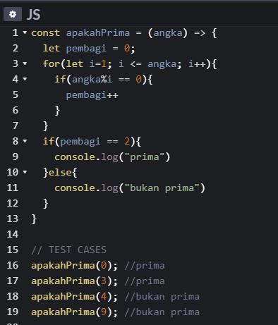 Javasecript Bilangan Prima