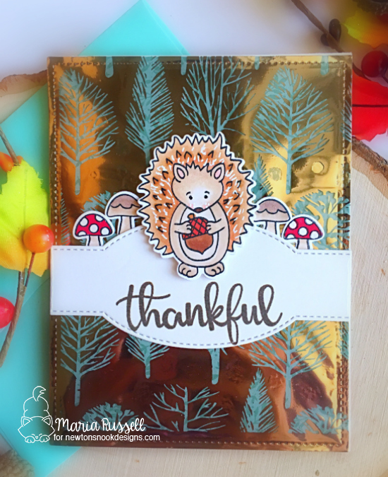 Newton's Nook Designs & Therm O Web Inspiration Week | Hedgehog Fall card by Maria Russell | Hedgehog Hollow Stamp Set by Newton's Nook Designs and Foils by Therm O Web #newtonsnook #thermoweb