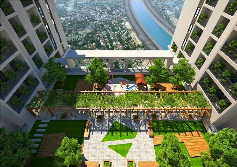 Khuôn viên cây xanh của chung cư Mipec Kiến Hưng Hà Đông