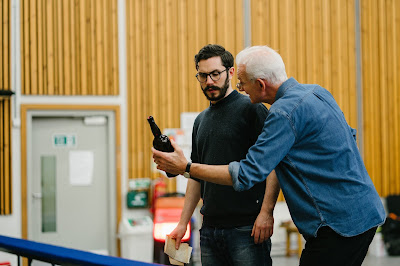 Rehearsals for Opera North's production of Put's Silent Night, November 2018 - Alex Banfield as Jonathan Dale with Director Tim Albery  - Photo Tom Arber