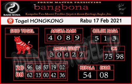 Prediksi Bangbona HK Rabu 17 Februari 2021