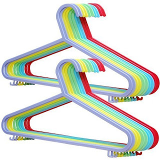 20 X rainbow Plastic Clothes Hanger, strong, for adulth, sturdy plastic, slim, £3.99