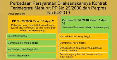 Perbedaan Persyaratan Kontrak Terintegrasi Menurut PP No 29/2000 dan Perpres No 54/2010