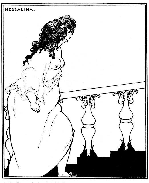 Aubrey Beardsley, an angry woman climbing stairs
