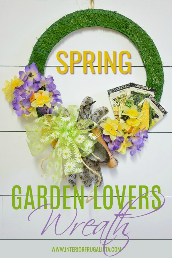 An easy DIY Garden Lovers' Wreath for Spring that won't break the bank and a fun dollar store craft that includes vintage seed packet printables. #diyspringwreath #handmadespringwreath #springdollarstorecraft