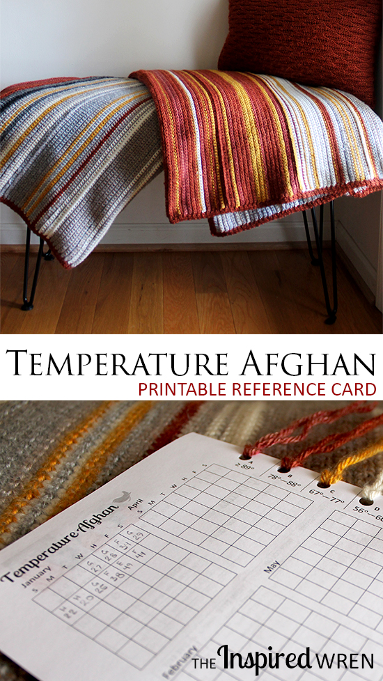 Love this Printable Reference Card and Chart for a Temperature Afghan | The Inspired Wren