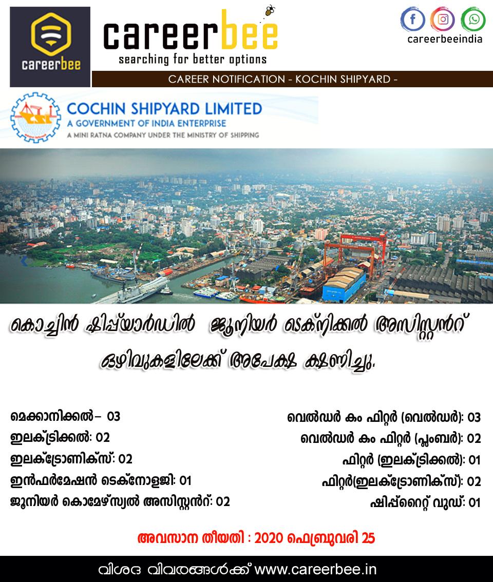 cochin shipyard vacancy job