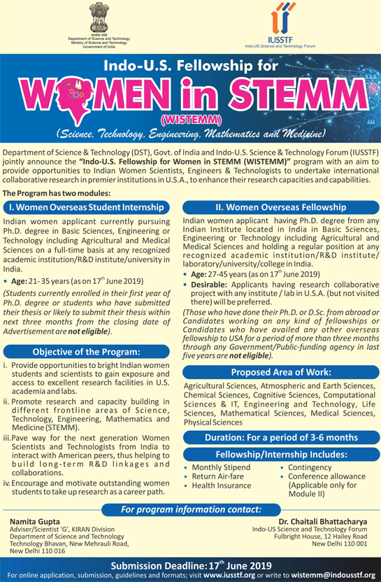 helpBIOTECH: Indo-US Fellowship for Women STEMM (Science, Tech, Engg