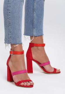 Sandale cu toc gros de zi Rosii